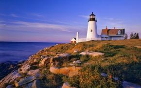 Wallpaper lighthouse, sea, hill, stones