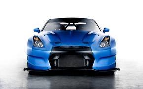 Picture blue, Nissan, GT-R, Nissan, blue, front, race car, kit, Ben Sopra