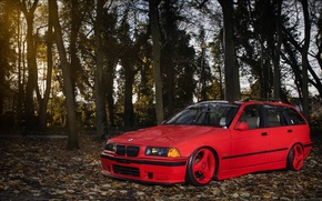 Picture BMW, red, front, wagon, E36