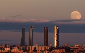 Picture moon, twilight, sunset, dusk, Spain, buildings, Madrid, downtown, skyscrapers, cityscape, Tower Space, Torre de Cristal, …