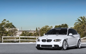Picture white, the sky, trees, bmw, BMW, the fence, white, front view, e90