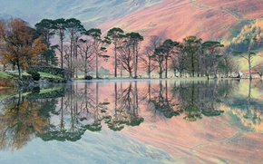 Picture trees, mountains, lake, reflection