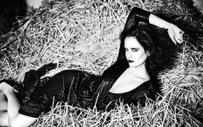 Picture pose, model, makeup, figure, dress, actress, hairstyle, lies, black and white, the barn, photoshoot, Eva ...