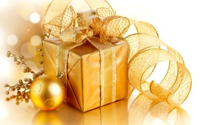 Picture decoration, gold, gift, Christmas, tape, New year, golden, Christmas, box, gift, decoration, xmas, Merry