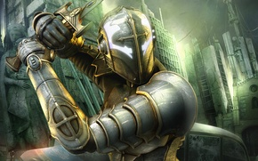 Picture the city, hero, battle, Hellgate London
