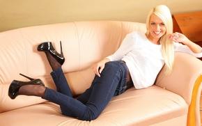 Wallpaper Lena Love, jeans, blonde, smile, white, blouse