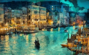 Picture light, night, lights, home, boats, art, Italy, Venice, channel, gondola