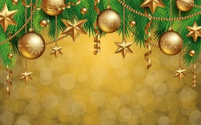 Picture decoration, balls, tree, New Year, Christmas, golden, Christmas, balls, decoration, Merry
