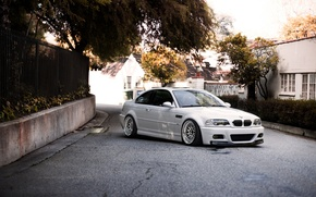 Picture white, the sky, trees, building, bmw, BMW, turn, the fence, white, wheels, drives, sky, building, …