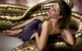 Wallpaper look, figure, Snake, henning lucas