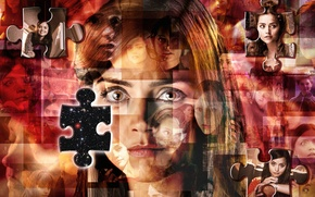Picture look, girl, stars, face, actress, mosaic, Doctor Who, frames, Doctor Who, brown eyes, puzzle, Clara …