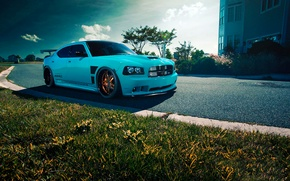 Picture Dodge, SRT8, Car, Blue, Front, Charger, Rides, Blooded