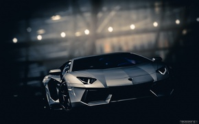 Picture road, night, Lamborghini