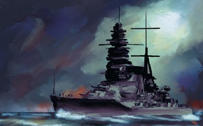 "Picture sea, the sky, painting, battleship, Japanese, fleet, Imperial, ""Mutsu"""