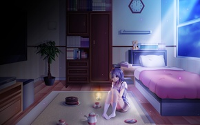 Picture flower, girl, light, night, darkness, room, tea, watch, books, bed, anime, day, cake, shelf, birth, …