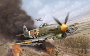 Picture the plane, fighter, art, bomber, game, the, British, Flames of War, WW2., single, Hawker Typhoon, ...