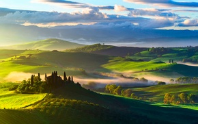 Picture the sky, clouds, trees, fog, hills, field, morning, Italy, estate, Tuscany