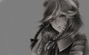 Picture look, face, background, Wallpaper, anime, b/W, girl, picture, braids