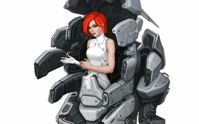 Picture look, girl, background, fiction, robot, art, gloves, sci-fi, red hair