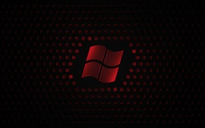 Picture balls, red, logo, black background