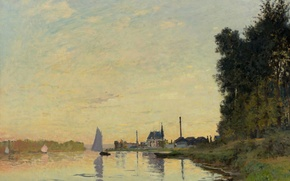 Picture landscape, river, boat, picture, sail, Claude Monet, Argenteuil. Late In The Evening