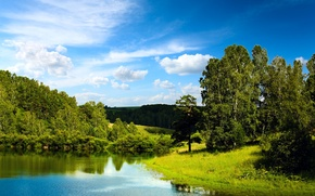 Wallpaper forest, the sky, water, clouds, trees, lake, reflection, blue, Landscape, blue sky, Mirror lake