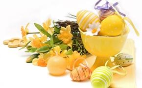 Wallpaper flowers, holiday, eggs, Easter, vase, napkin, daffodils