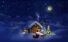 Picture New Year, houses, The moon, snow, tree, winter, Santa Claus, deer, Santa Claus, stars