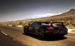 Wallpaper Porsche, mountains, Porsche, road, Carrera GT, desert