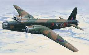 Picture aircraft, war, art, airplane, painting, aviation, ww2, british bomber, Vickers Wellington