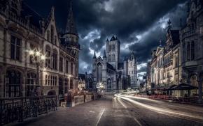 Picture road, light, night, the city, the evening, excerpt, Belgium