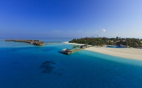 Wallpaper Bungalow on the sea on stilts, blue water, the Maldives, Paradise island