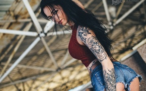 Wallpaper pose, Anastasia Rozhdestvenskay, sexy, figure, Mike, hairstyle, shorts, makeup, photographer, brunette, tattoo, SOLOVЬEV