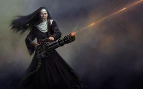 Picture rage, nun, machine gun, wasteland, trading-card