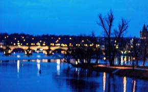Picture lights, twilight, dusk, reflection, Prague, blue hour, Czech Republic, Charles Bridge, Vltava River