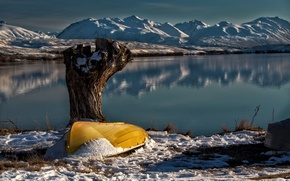 Picture snow, lake, boat, New Zealand, Lake Tekapo, South Island, Lake Alexandrina