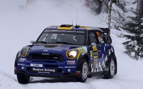 Picture Winter, The evening, Mini, Blue, Snow, Race, Lights, wrc, Rally, Rally, Mini Cooper