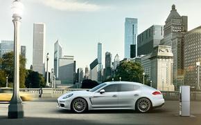 Picture Auto, The city, White, Porsche, Machine, Panamera, Day, Porsche, Side view, E-Hybrid