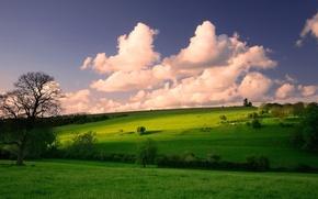 Wallpaper Meadows, Spring, Clouds