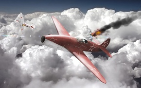 Picture the sky, clouds, the plane, war, fighter, jet, war thunder, As-15