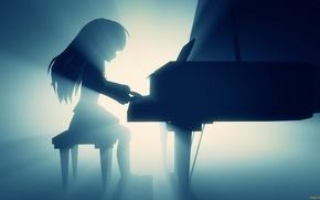 Picture light, piano, girl, angel beats, Kanade Tachibana, Angel Beats