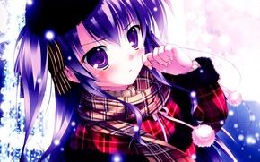 Picture winter, girl, snow, snowflakes, anime, scarf, art, POM-poms, mikeou, KSEZ