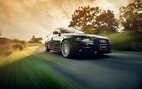 Picture movement, speed, black, Audi A4 B8, Vossen Wheels, Ronaldo Stewart