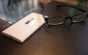 Picture white, glasses, smartphone, nokia, 920, windows phone 8, lumia