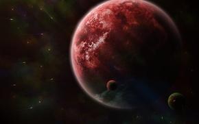 Picture space, planet, comet, satellites