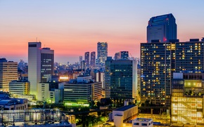 Picture sunset, lights, home, skyscrapers, the evening, Japan, Tokyo, megapolis