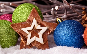 Picture balls, balls, toys, star, New Year, green, Christmas, the scenery, Christmas, blue, holidays, New Year, …
