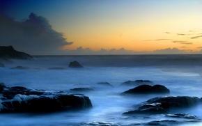 Picture wave, foam, stones