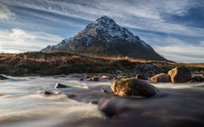 Picture the sky, landscape, stones, mountain, Scotland