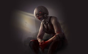 Picture look, blood, anime, mask, white hair, anime, red eye, Tokyo Ghoul, Ken Kanek, Tokyo Ghoul, ...